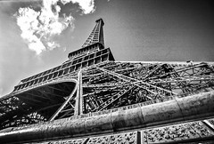 Paris (NYKat33) Tags: blackandwhite paris france film lines architecture shadows curves eiffeltower landmark symmetry iconic