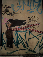 Gone with the wind -almost.... (V and the Bats) Tags: sticker almost thessaloniki gonewiththewind onawall  wallstories