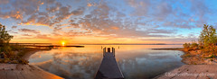 Sunrise ... dock 6-7-13 (Ken Scott) Tags: panorama usa reflection sunrise spring dock michigan may lakemichigan greatlakes marsh hdr freshwater awesomeness westbay grandtraversebay leelanau 45thparallel 2013