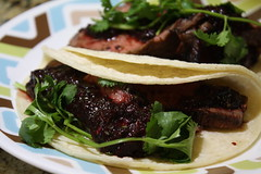 Grilled Steak Tacos with Cherry Chipoltle Salsa (Sarah B in SD) Tags: home dinner cherry tacos cook fresh eat steak homecooking salsa grilled chipotle homecook sooc