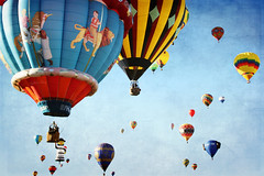 Carousel Fun in The Skies. Albuquerque Balloon Fiesta (Katrin Ray) Tags: morning autumn sky usa newmexico albuquerque textures digiart nm hotairballoons exciting tiltshift massascension balloonfiestapark albuquerqueinternationalballoonfiesta photoshoptiltshift flickr10 vintagetexture texturebyme specialshapeballoons katrinray texturebylesbrumesthankyou texturebydogmathankyou carouselballoon october52013 enchantedsunrise 42ndballoonfiesta carouselfunintheskiesalbuquerqueballoonfiesta