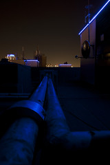 The roof at night (London From The Rooftops) Tags: urban london rooftop neon raw pipes east jb satellitedish aerials rawimages jbraw roofrooftoprooftops londonfromtherooftops jbrawimages