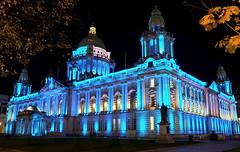 Feeling Blue? (TBSteve) Tags: street city blue colour architecture night lights hall belfast council colourful