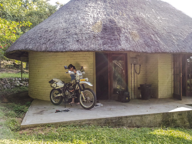 Danielle Murdoch Fixing Motorcycle, Hazyview, South Africa