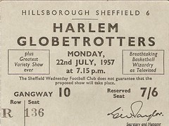 Harlem Globetrotters. 1957. (The Wednesday) Tags: england basketball wednesday football harlem sheffield ticket memorabilia hillsborough globetrotters swfc