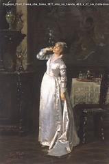 Eugenio Prati Dama che fuma 1877 olio su tavola 40,5 x 27 cm Collezione privata Trento