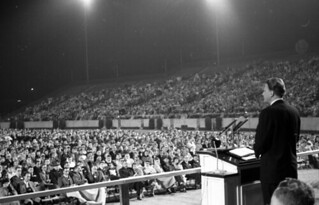 Evangelist Billy Graham speaking at Doak Campb...