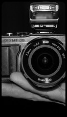Olympus Pen EPL-5 and Samyang 7.5mm fisheye lens. (CWhatPhotos) Tags: pictures camera white fish black eye digital pen that lens lite four photography mono blackwhite focus foto with view image artistic pics wide picture pic olympus images fisheye have photographs photograph fotos micro manual 35 olympuspen which fit contain 43 thirds f35 75mm mft samyang esystem mopnochrome sanyang fisheyed cwhatphotos epl5