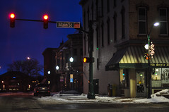 Quiet Winter Morning (Lake Effect) Tags: red night dark store downtown elkhart stoplight mainst predawn