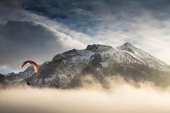 Hello ! Jungfrau (notjustnut) Tags: sky cloud sun mist mountain fog landscape switzerland fly shine landmark jungfraujoch interlaken jungfrau paramotor hhematte cantonofbern hohematte