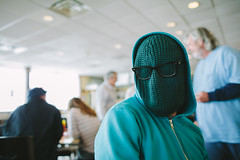 Taylor (BurlapZack) Tags: portrait amigos glasses costume hoodie buddies mask bokeh teal aquamarine diner wideangle flashback truckstop disguise beanie anonymous comrades greasyspoon incognito dentontx whogoesthere canonef28mmf18usm toboggin canoneos5dmarkii vscofilm