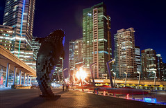 The Flame & The Orca (Clayton Perry Photoworks) Tags: winter skyline night vancouver lights flame torch olympics douglascoupland sochi2014 jackpooleplaza digitalorca