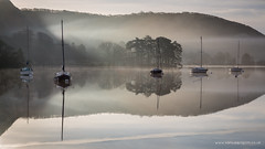 Dawn on Coniston Water (Sam Pilgrim) Tags: morning winter mist reflection tree nature water weather silhouette sunrise la