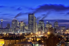 Core plumes (John Andersen (JPAndersen images)) Tags: longexposure sunset cold calgary skyline night cloudy bluehour plumes 70200f4lis canon6d jpandersenimages