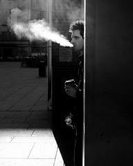 taking a break (donvucl) Tags: street bw london coffee cigarette figure smoker lightandshade donvucl