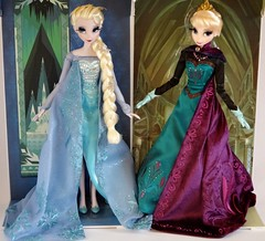 Snow Queen and Coronation Elsa Limited Edition 17'' Dolls - Side By Side In Front of Backing - Full Front View (drj1828) Tags: frozen us doll purchase limitededition elsa disneystore coronation firstlook 17inch snowqueen 2014 posable productinformation le2500 le5000