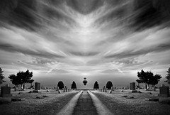 Peace (Tau Zero) Tags: road sky bw cemetery clouds digitalmirror transformationflip