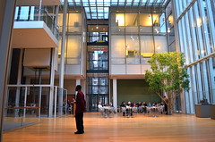 Guidance And Guardance (MPnormaleye) Tags: windows tree art glass museum composition woodwork chairs library elevator guard wideangle galleries staircase frame utata guide atrium crowds