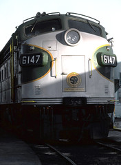 Southern EMD FP7A locomotive # 6147, is seen at the re-fueling station in Simpson Yard at Jacksonville, Fllorida, 1983 (alcomike43) Tags: old color classic shop yard vintage photo track diesel engine slide trains historic southern photograph maintenance rails service locomotive freighttrains siding railroads ballast rightofway dieselengine southernrailway railroadyard emd passengertrains roadbed diesellocomotive 6147 dieselelectriclocomotive fp7a refuelingstation railfanexcursiontrains