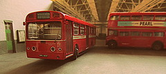 New delivery Red Arrow MBA 582 (kingsway john) Tags: red arrow mba 582 london transport bus garage model 176 scale kingsway models pits maintenance londontransportmodel diorama oo gauge miniature