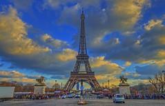 Eiffel Tower & Pont d'Iena (cmfgu) Tags: bridge paris france europe eiffeltower toureiffel champdemars hdr highdynamicrange leftbank europeanunion pontdiena gustaveeiffel 7tharrondissement 7thdistrict 125thanniversary ironlattice 1889worldsfair