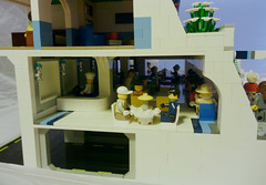 Riverside Apartments (snaillad) Tags: road city building kitchen car wall river underground restaurant living town pod bedroom apartments open lego interior balcony room parking plan retro flats greenhouse future bubble scifi boardwalk canopy moc