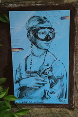 L'arte sa nuotare- Art swims (Chickenhawk72) Tags: street italy art water wall poster town mask tuscany da leonardo sa seen vinci dama swims larte nuotare ermellino