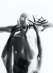 ethereal enigma (Karsten Fatur) Tags: lighting gay portrait blackandwhite bw selfportrait ink photoshop studio naked nude model skin doubleexposure fear ghost surreal tattoos multipleexposure lgbt ethereal horror transparent queer scare bodyart inverse edit malemodel selfie queerart lgbtq