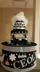 100th Birthday card box (babybizcakes) Tags: black silver centerpieces towelcake giftcardbox