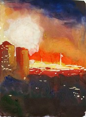 Out the Window 14. Fireworks on Victory Day (IrinaIrina) Tags: landscape sketchbook study gouache lightcolor urbansketching