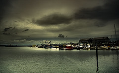 Anacortes Marina (jeanmarie shelton) Tags: ocean light sky industry birds architecture clouds marina reflections dark landscape outdoors dock industrial dof cloudy ships wastate anacortes refinery waterscape jeanmarie jeanmarieshelton
