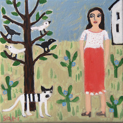 "#1311 ""Back Yard"" (sariart2) Tags: flowers original white house black tree art girl birds cat painting landscape backyard acrylic raw folk outsider ooak naive sari primitive azaria noy"