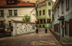 Narrow old street (grace.morgan100) Tags: street old city travel house color building wall architecture cityscape unesco oldtown narrow lithuania vilnius worldheritage colorimage