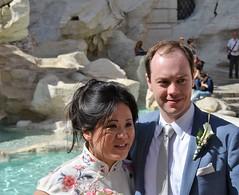 Trevi Fountain Wedding Crashing (saddy_85) Tags: old wedding italy sun rome history fountain nikon pretty shine marriage sunny trevi romans d5100