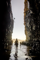 Cathedral Caves (Kathrin & Stefan) Tags: ocean sky nature silhouette rock backlight outdoor cave cathedralcaves kathrinmarks