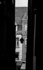 En todos lados hay luz (palm z) Tags: blackandwhite bw france byn blackwhite calle farola negro banco bn honfleur farol francia estrecho