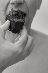 Eating (glukorizon) Tags: 52weeksof2016 aarde earthelements eating eten gras grass grond ground hand luc mond monochrome monochroom mouth plant selfie sepia soil zelfportret