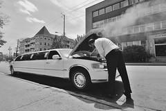 Stretching It (Paul B. (Halifax)) Tags: blackandwhite bw canada nikon novascotia streetphotography limo steam halifax limousine overheating brokendowncar barringtonstreet d7000 sigma1020mm456exdc
