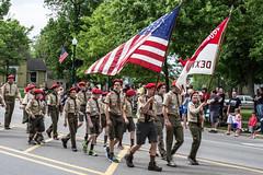 Boy Scouts in Memorial Day Parade, Dexter, Michigan, 2015. (marylea) Tags: community michigan boyscouts flags parade dexter memorialday 2015 may25 memorialdayparade washtenawcounty