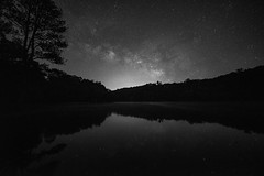 June Milky Way (from our view) Tags: milkyway lake reflection stars le longexposure bw nikon d810 zeiss night june 2016 sky lightpollution tennessee dark tree trees treeline