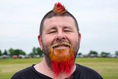 Stranger 10: Red Beard (sniggie) Tags: portrait hairdye face beard kentucky candid stranger depthoffield whiskers danville mohawk boylecounty balloonride centralkentucky greatamericanbrassbandfestival hotairballonrace dyedfacialhair