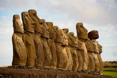 Fifteen Moai (jackkostelec) Tags: chile platform moai easterisland volcanicrock rapanui topknot 15moai