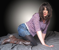 Connect the dots..... (Irene Nyman) Tags: door pink blue brown cute girl bed eyes boots top tights skirt next jeans short denim irene brunette knee pantyhose polkadot connecting nyman