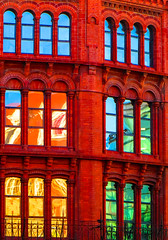 BRYAN_20160120_IMG_1077 (stephenbryan825) Tags: blue windows red orange reflection green glass yellow architecture contrast liverpool buildings graphic vivid multicoloured selects