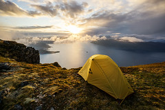 (Johan Kistrand) Tags: sunset mountains nature norway norge view outdoor hiking tent sunnmre masdalshorn