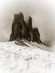 Tre Cime di Lavaredo (++sepp++) Tags: italien schnee bw snow mountains june juni landscape blackwhite cloudy it berge sw monochrom landschaft dolomites dolomiti wolkig dolomiten dreizinnen einfarbig schwarzweis trecimedilavaredo toblach trentinosdtirol