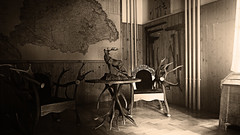 Forestry & Hunting (Molnar Gabor) Tags: sculpture statue vintage table chair hungary phone desk map forestry hunting grain equipment smartphone antler 830 lumia cervus elaphus hippelaphus