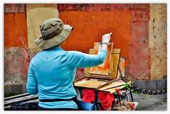 paintress at work ... (miriam ulivi) Tags: people colors sestrilevante carruggio pittrice stphotographia streetpassionaward panasonicdmctz60 miriamulivi