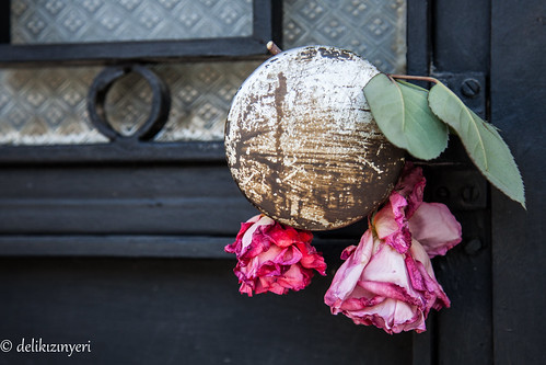 roses and doorknob