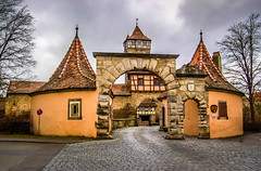 Rothenburg ob der Tauber Germany - Town Gate and Walls with Tower (mbell1975) Tags: old tower castle wall germany bayern deutschland bavaria town gate europe with entrance franconia medieval german ob portal walls tor turm der altstadt fortress rothenburg deutsch odt tauber roethenburgodtgermany blinkagain